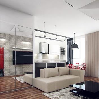 Ремонт кухни, совмещенной с гостиной, под ключ