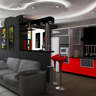 Косметический ремонт кухни-гостиной