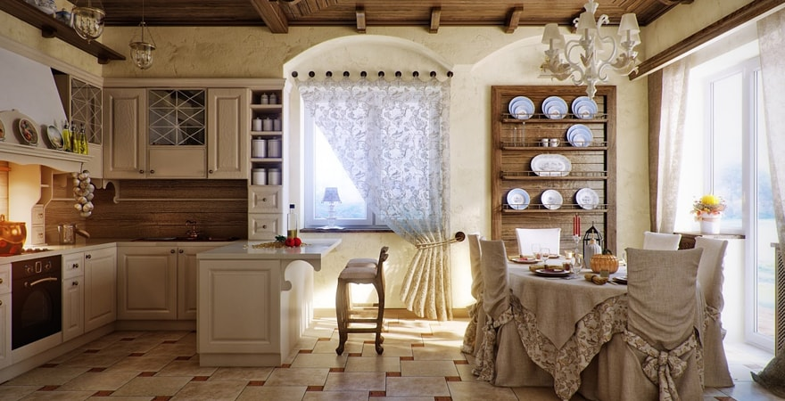 Отделка пола кафельной плиткой при воплощении дизайна загородного дома в стиле прованс