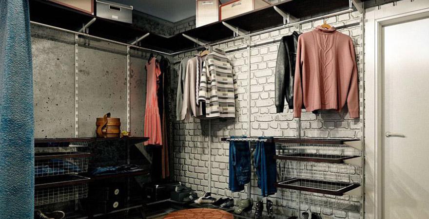 Ремонт гардеробной в стиле лофт