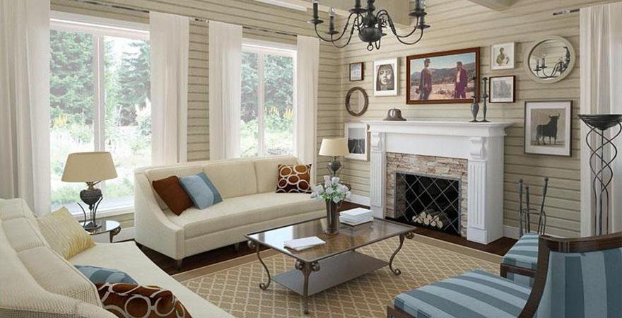 Дизайн интерьера загородного дома в стиле прованс в пастельных тонах