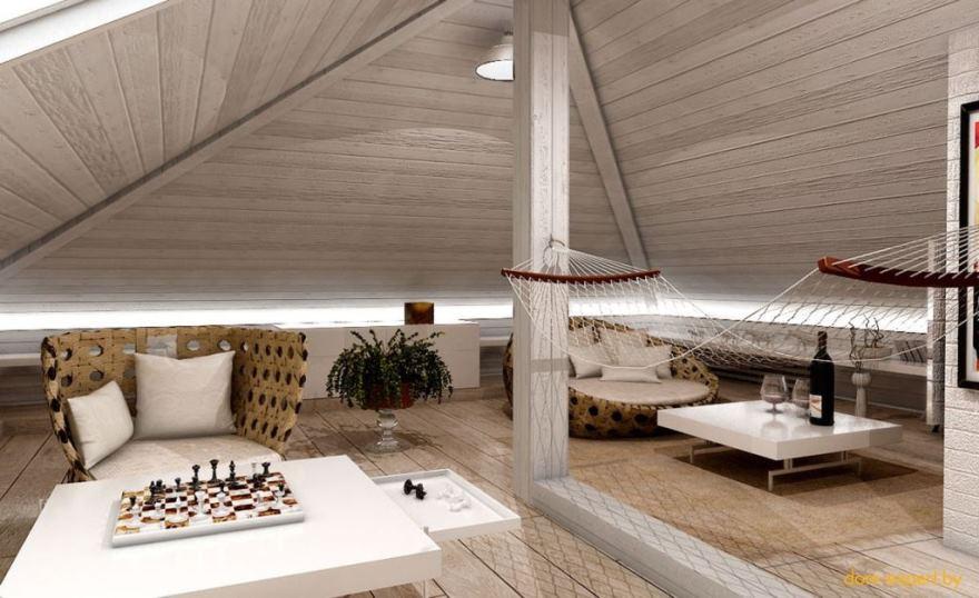 Комната отдыха на мансарде – решение для творческих людей