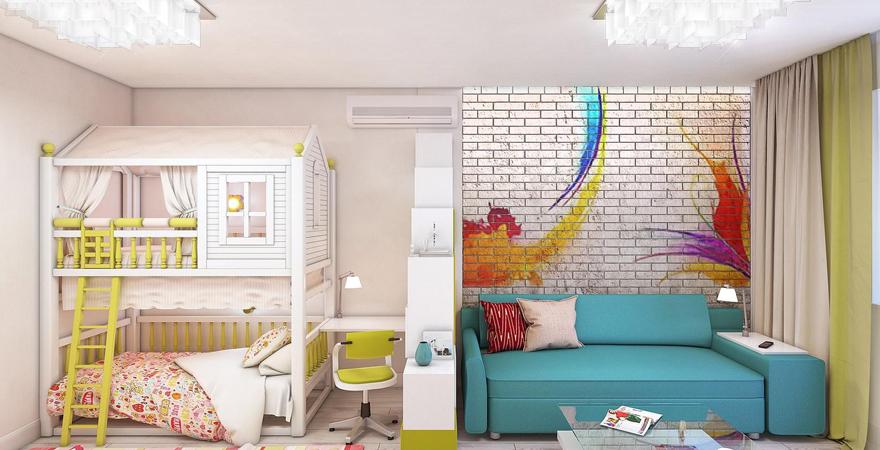 Детская зона в студии с двухъярусной кроватью