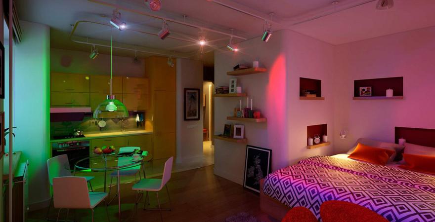Подсветка в маленькой квартире-студии