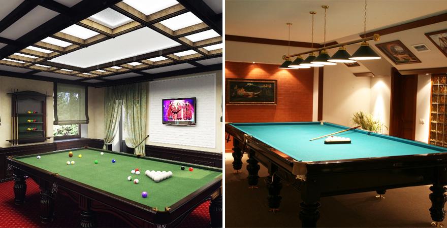 Освещение бильярдной комнаты: встроенные в потолок и подвесные светильники
