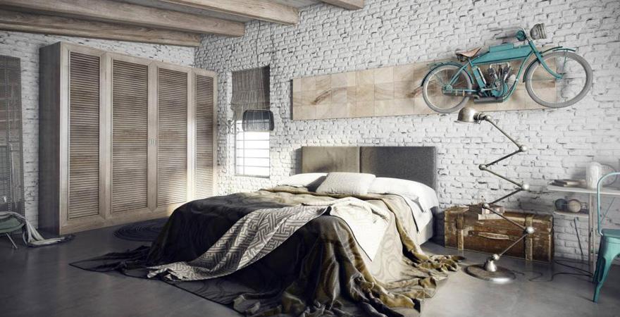 Спальня в стиле стимпанк с лофтом