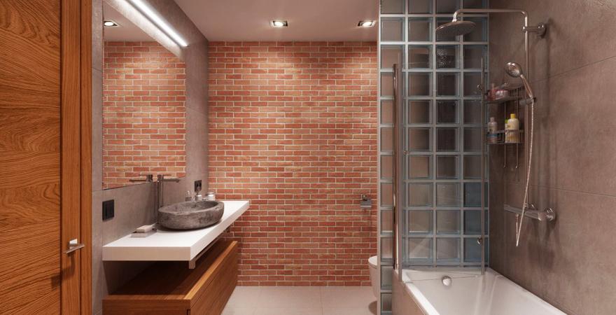 Ванная в стиле лофт со стеклоблоками
