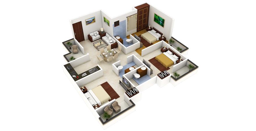 3D-визуализация дизайна квартиры в стиле минимализм