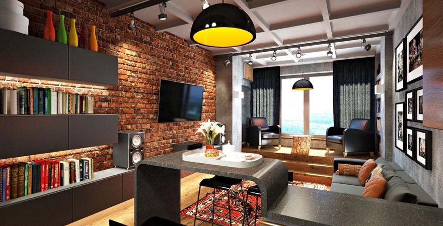Гостиная в стиле лофт-2