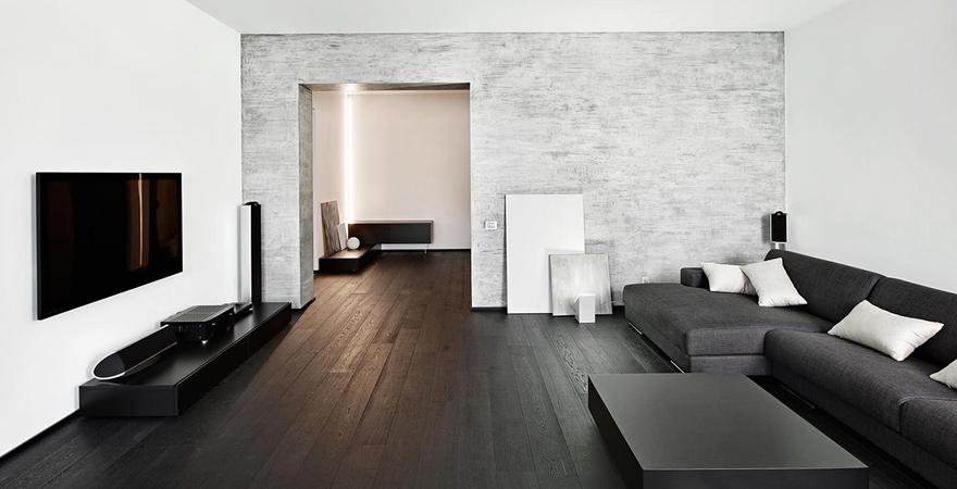 Черно-белый дизайн квартиры в стиле минимализм