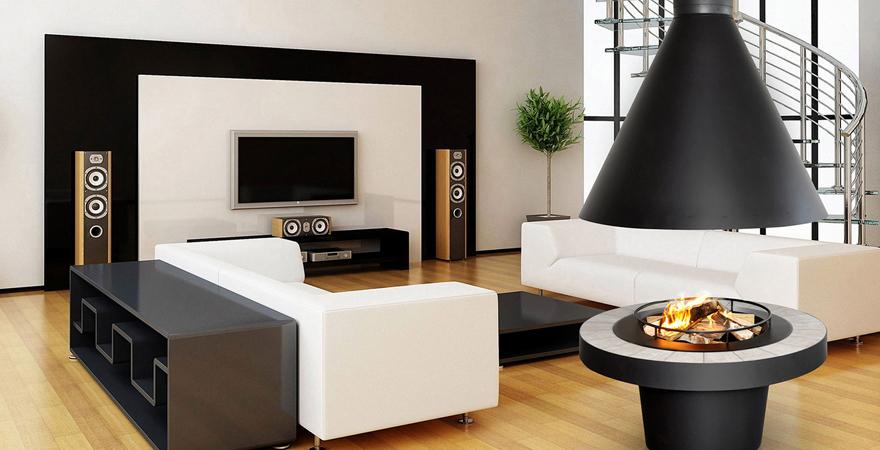 Островной камин в гостиной в стиле минимализм