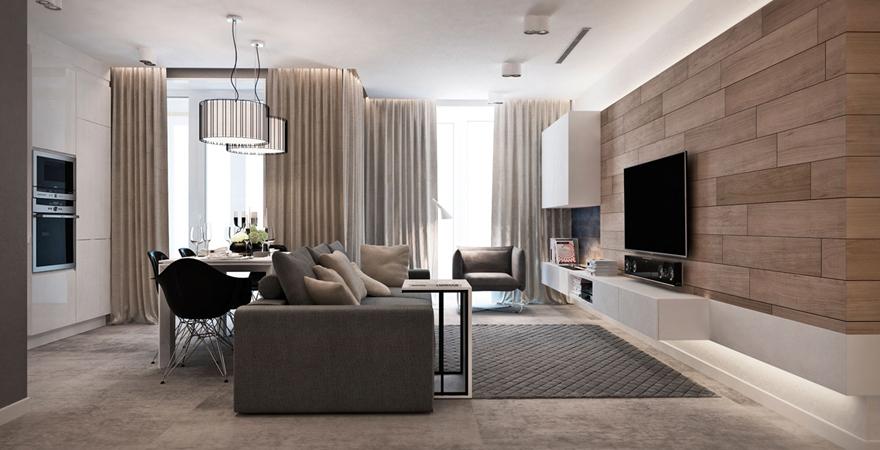 Гостиная в квартире-студии в стиле минимализм