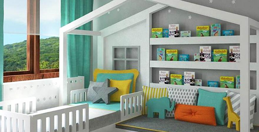 Мебель в виде домика в детской в скандинавском стиле