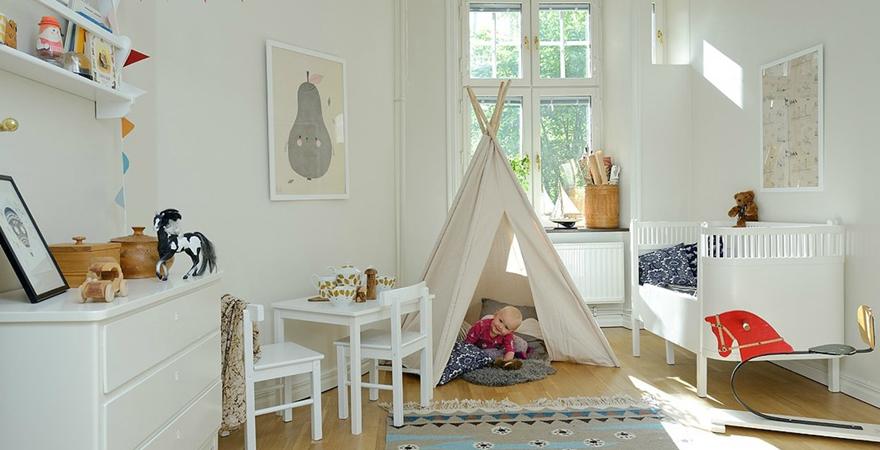 Игровые домики в детской в скандинавском стиле