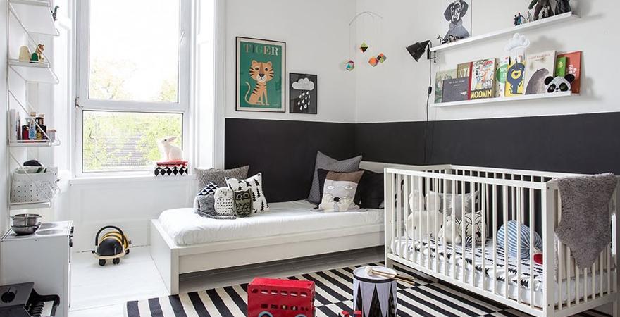 Черно-белая детская в скандинавском стиле