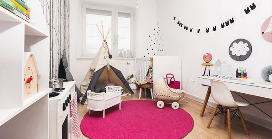 Детская комната в скандинавском стиле для девочки