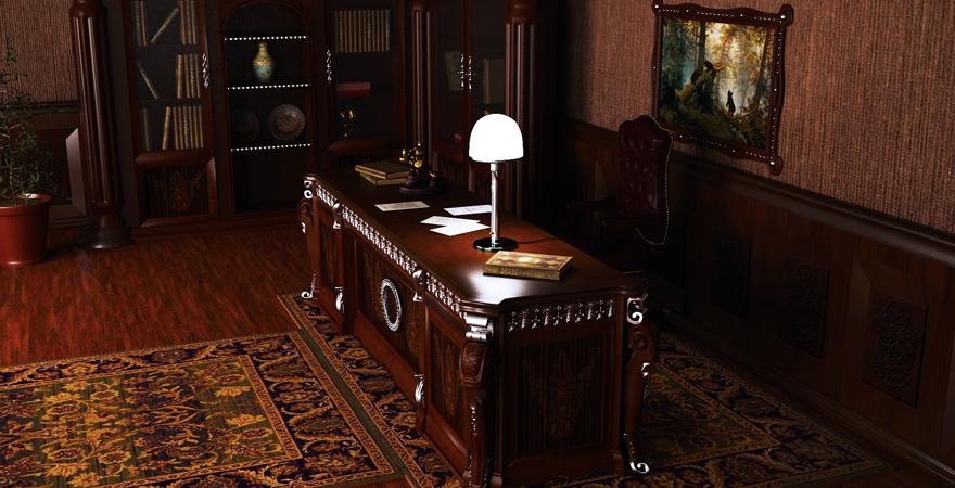 Деревянные панели в кабинете в английском стиле