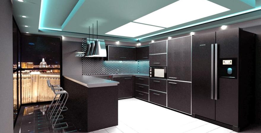 Освещение кухни хай-тек