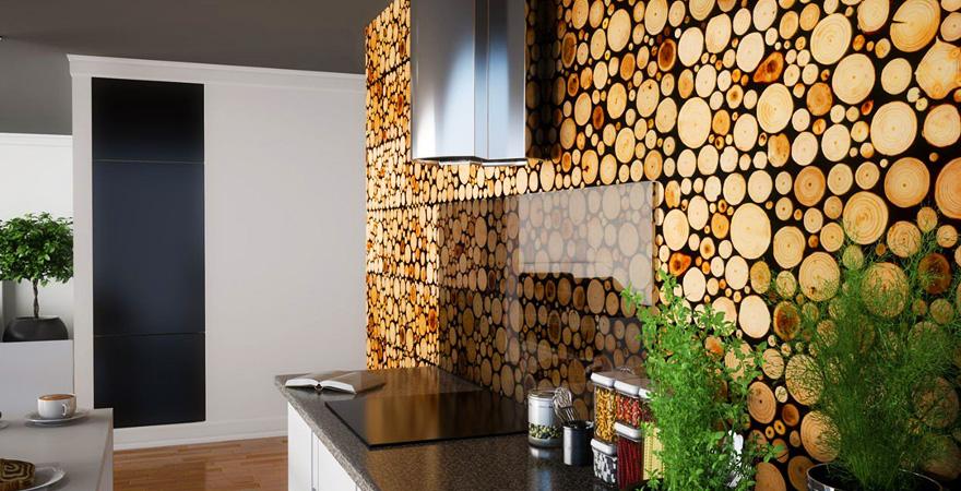 Декоративная облицовка деревянными спилами на кухне