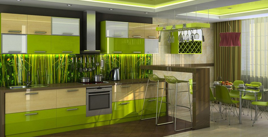Кухня в стиле эко джунгли