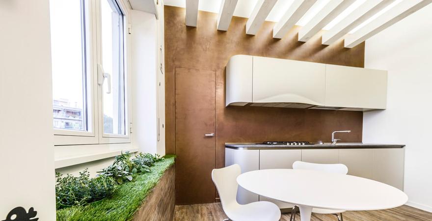 Отделка потолка на кухне в стиле эко