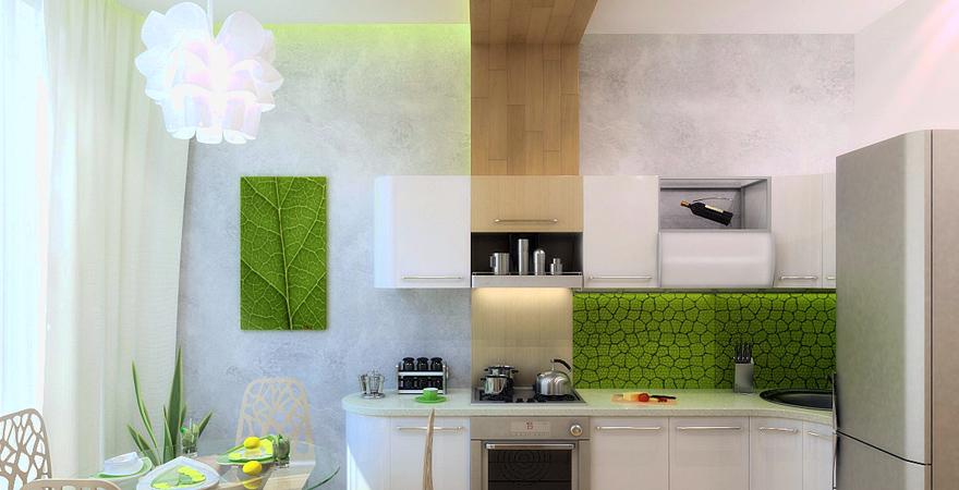 Отделка стен на кухне в стиле эко