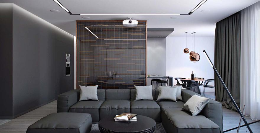 Металлический реечный потолок в гостиной хай-тек