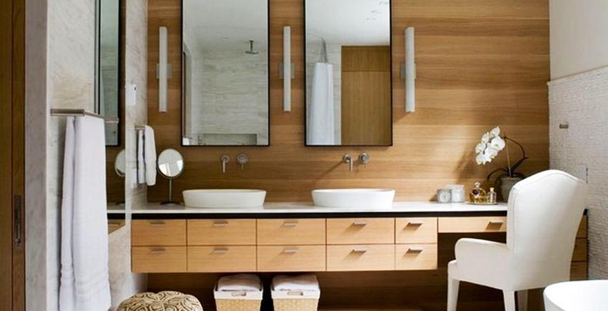 Отделка ванной деревянной вагонкой